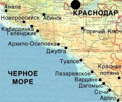 gdje Anapa na karti
