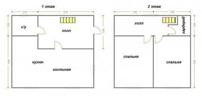 дом 6 на 6 двухэтажный планировка из пеноблоков
