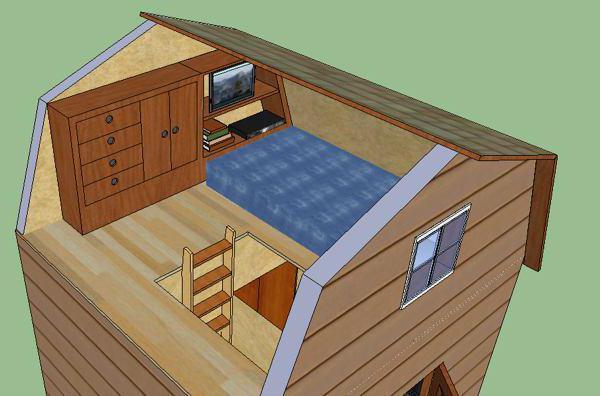 планировка дома 6 на 6 с мансардой и террасой