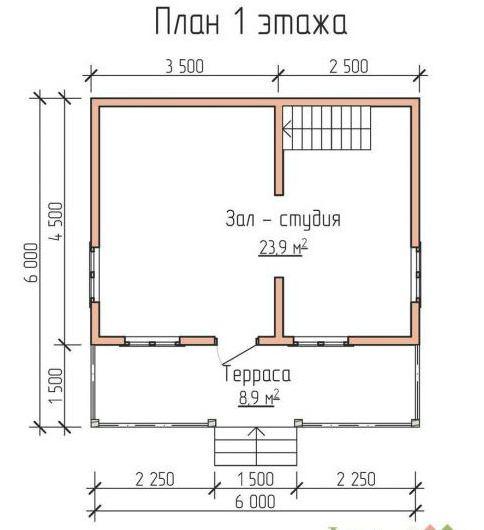 дом 6 на 6 с мансардой планировка