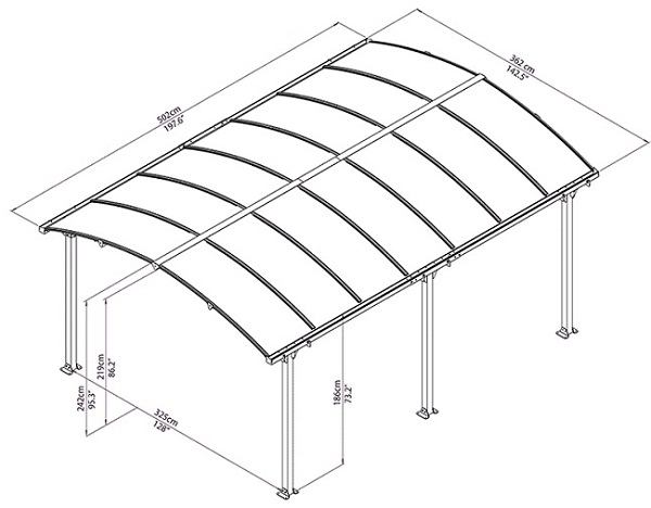 nadstrešnica crtež polikarbonata