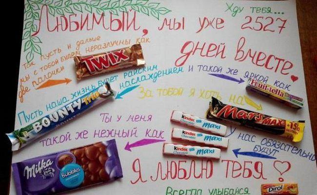 плакат с шоколадками и надписями своими руками для любимого