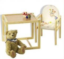 регулируемый по высоте детский стул и стол