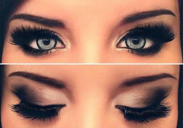 Večernji make-up za sive oči u koracima (foto)