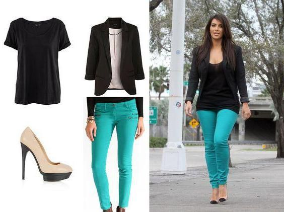 Модные советы: бирюзовые джинсы с чем носить?
