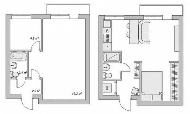 Raspored 2-sobni apartmana: slike, krug
