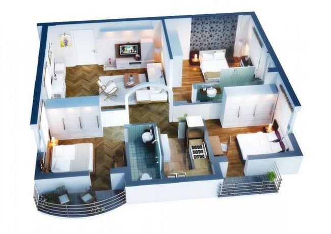 Планировка одноэтажного дома 12 на 12 с тремя спальнями