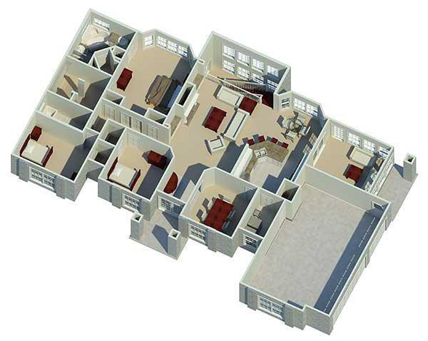 Планировка одноэтажного дома 12 на 12 с 3 спальнями
