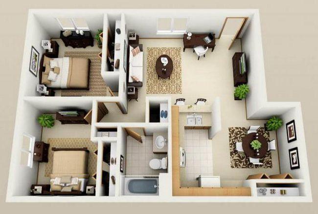 Планировка одноэтажного дома 12х12