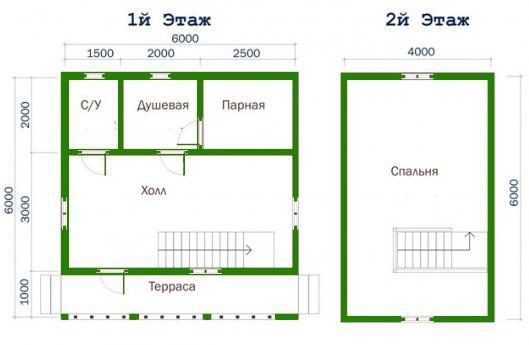 Projekti kupka kući sa potkrovljem 6x6