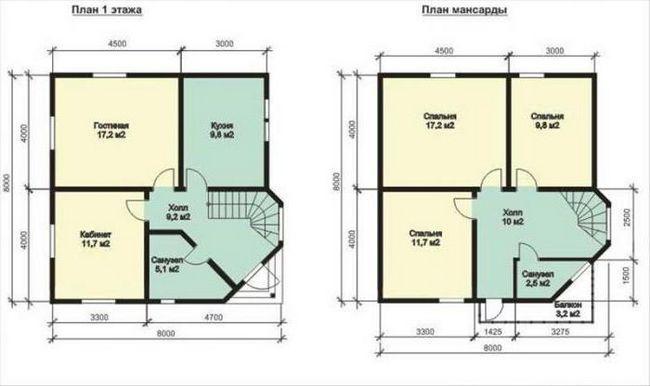 проекты деревянных домов с мансардой 8х8