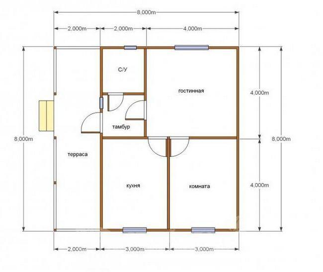 проекты одноэтажных домов из бруса 8х8