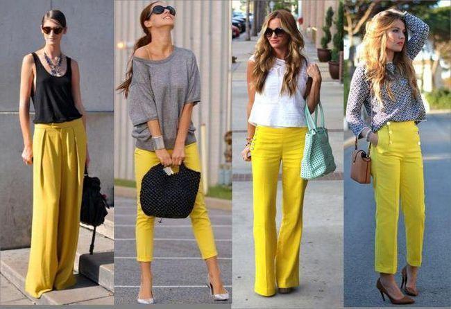С чем надеть желтые брюки, чтобы выглядеть стильно