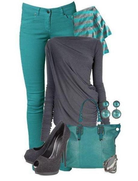 С чем носить бирюзовые штаны: модные тенденции