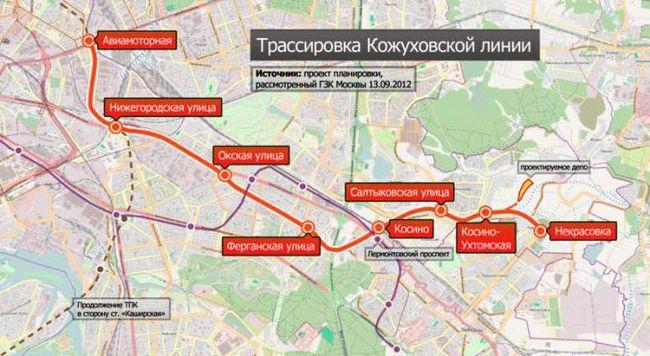 Vožnje Kozhukhovsky metro linije. Izgradnja nove linije Kozhukhovsky