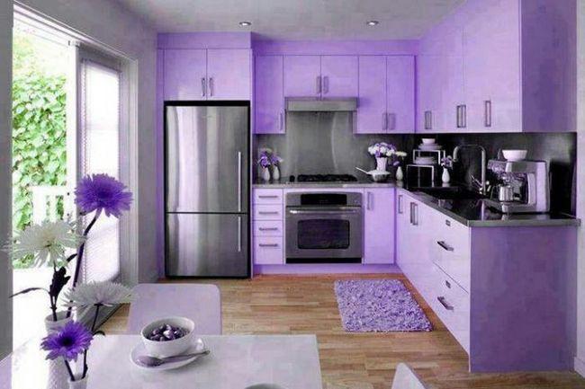 Lila kuhinja: ima upotreba lavande hlad u unutrašnjosti