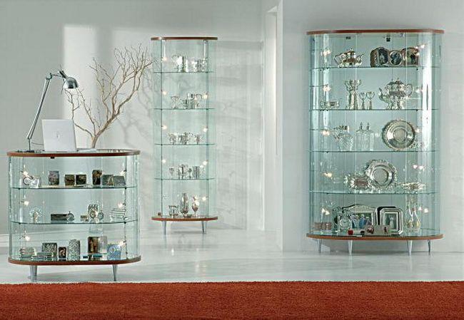 Витрина стеклянная для гостиной: обзор, виды, особенности выбора и отзывы