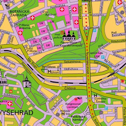 Vysehrad u Pragu na karti